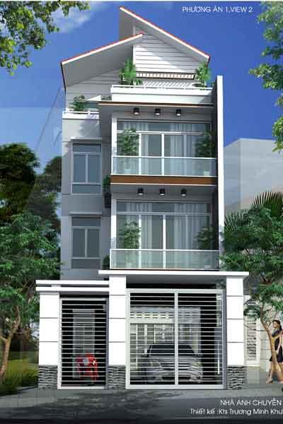 Thiết kế kiến trúc nhà phố 4 tầng đẹp lấy ánh sáng tự nhiên
