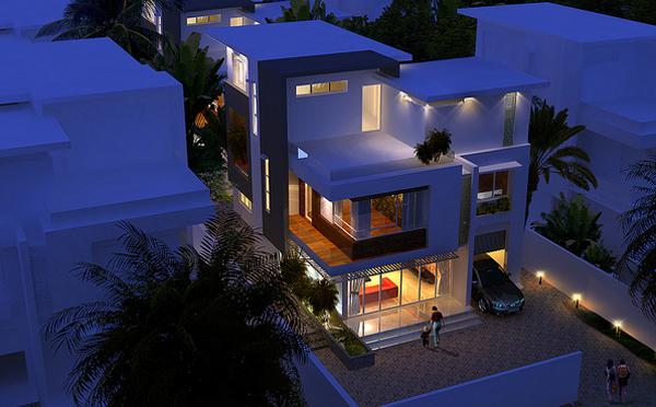 Phối cảnh biệt thự mini đẹp 3 tầng vào ban đêm